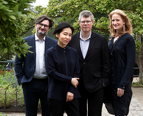 De 4 medlemmer af Elephant House Quartet i sort tøj